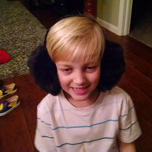 Accessories - Large Fluffy Black Adult Ear Muffs